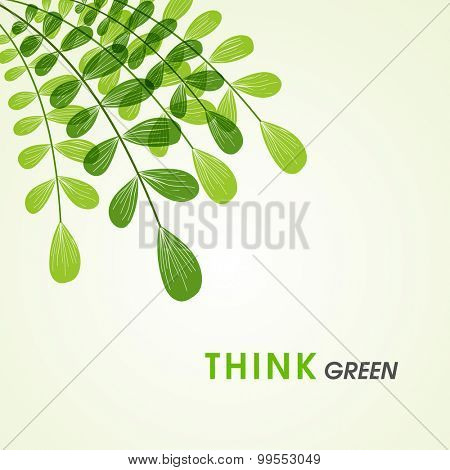 Fresh green leaves on shiny background for Ecology or Nature concept.