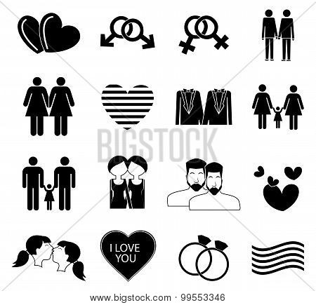 Homosexual gay icons set