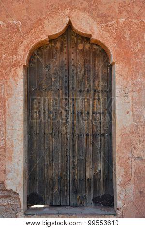 Wood door-Menara parc in Marrakech Morocco 2015