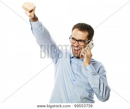 life style, business  and people concept: Successful gesturing business man with mobile phone, isolated over white background.