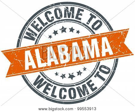Welcome To Alabama Orange Round Ribbon Stamp