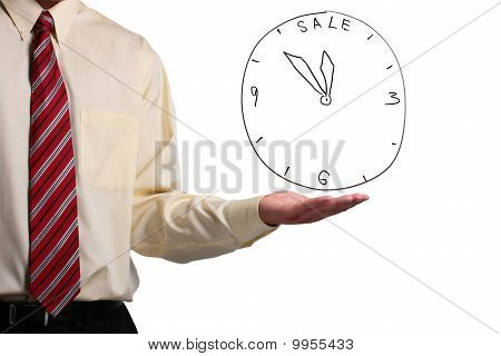 Man Showing A Clock