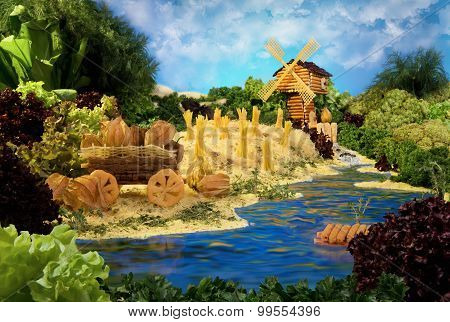 Landscape With Windmill Made From Food