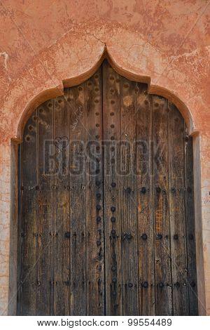 Wood door Menara parc in Marrakech Morocco