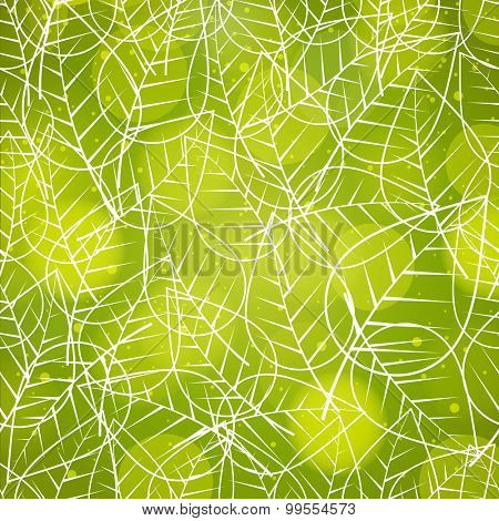 Stylish seamless pattern with leaves on shiny green background for Nature.