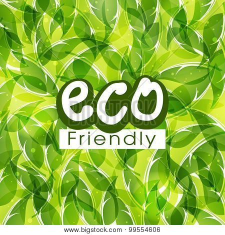 Stylish shiny pattern with green leaves for Eco Friendly.