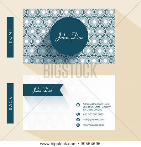 Floral design decorated business card or visiting card set with front and back presentation.
