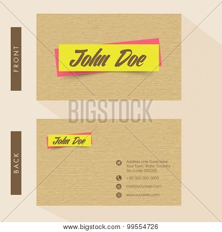 Business card or visiting card design with front and back presentation.