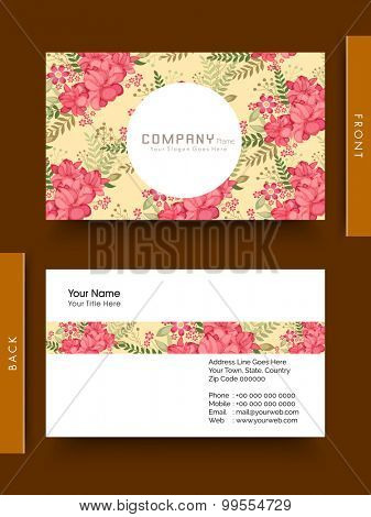 Flowers decorated business card or visiting card design.