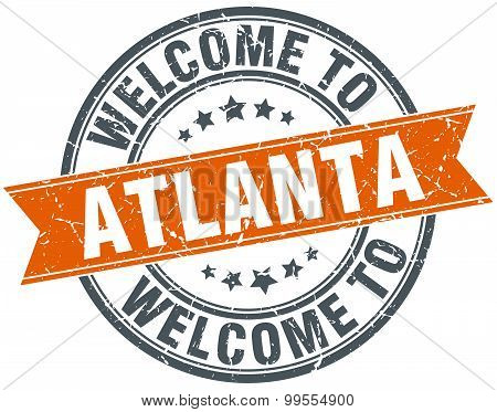 Welcome To Atlanta Orange Round Ribbon Stamp