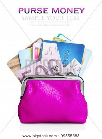 Credit Cards And Euro Banknotes In Purse