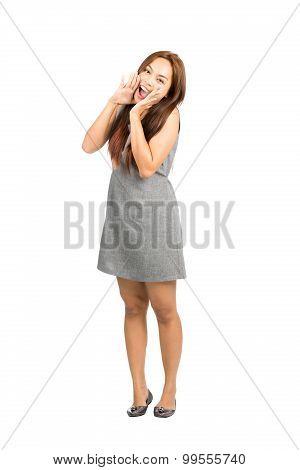 Cute Asian Female Making Announcement Hands Full