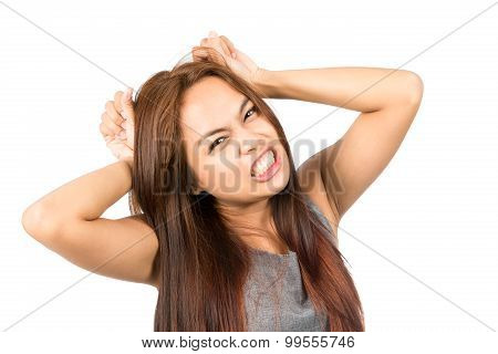 Frustrated Asian Girl Temper Tantrum Pulling Hair