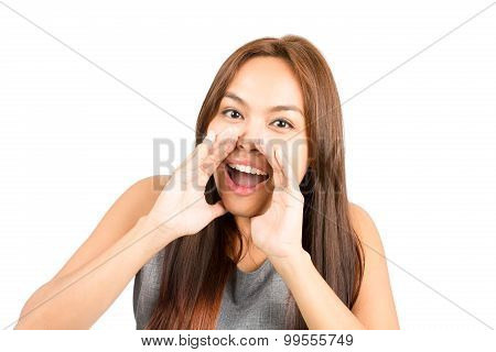 Portrait Asian Girl Hands Cupped Around Mouth H