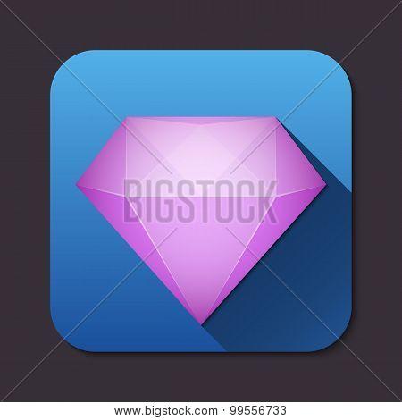 Vector Diamond Icon With Long Shadow