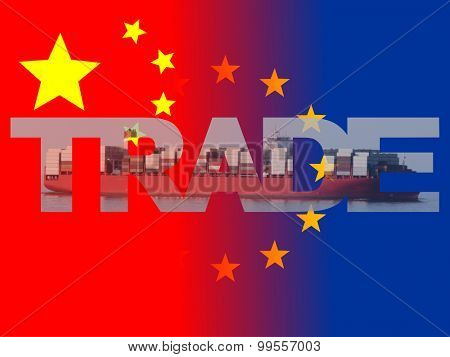 Chinese EU flags with trade text illustration
