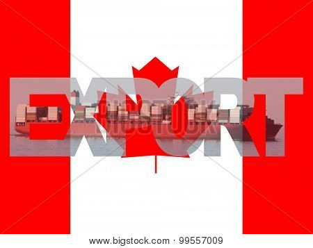 Container ship with export text and Canadian flag illustration