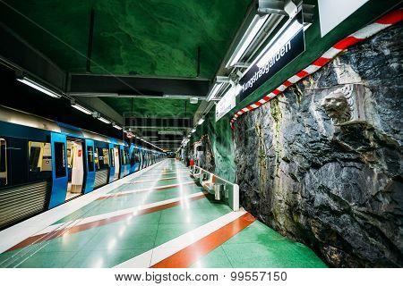 Stockholm Metro Train Station in Blue colors, Sweden