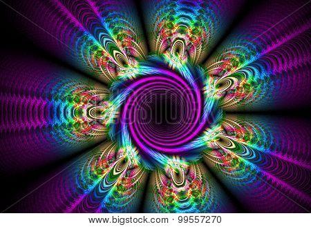 Fractal Illustration Background Of A Bright Flower Bed
