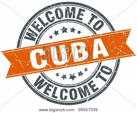 Welcome To Cuba Orange Round Ribbon Stamp