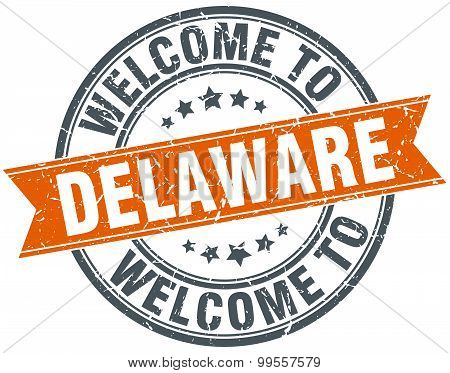 Welcome To Delaware Orange Round Ribbon Stamp