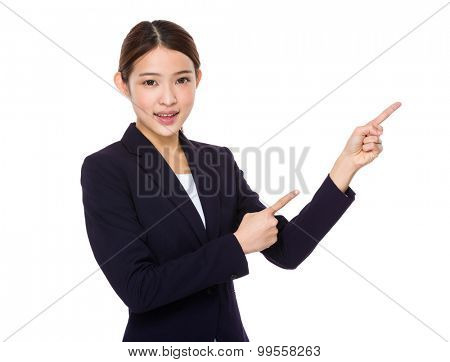 Businesswoman with two finger point up