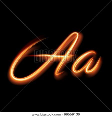 Glowing light letter A. Hand lighting painting