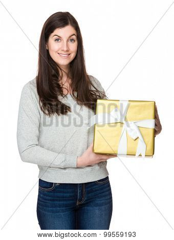 Brunette woman hold with giftbox