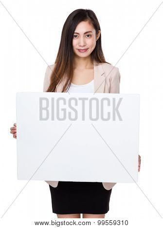 Asian young businesswoman hold with white board