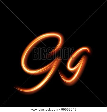 Glowing light letter G. Hand lighting painting