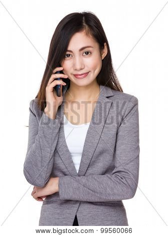 Young businesswoman talk to cellphone