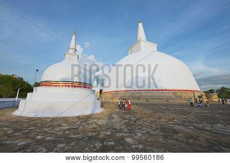 Exterior of the Ruwanwelisaya stupa in Anuradhapura, Sri Lanka.