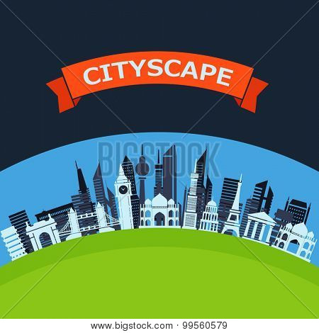 Modern city flat design background