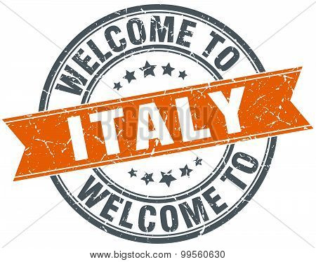 Welcome To Italy Orange Round Ribbon Stamp