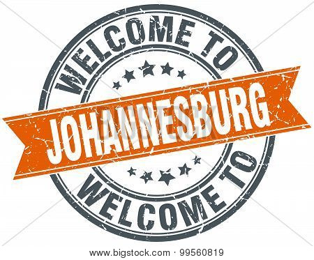 Welcome To Johannesburg Orange Round Ribbon Stamp