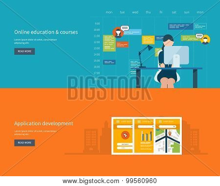 Modern flat design application development concept  for e-business, web sites,  banners, mobile navi