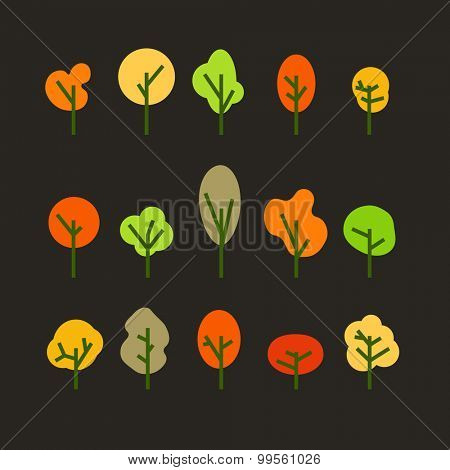 Different tree silhouettes clip-art. Design elements