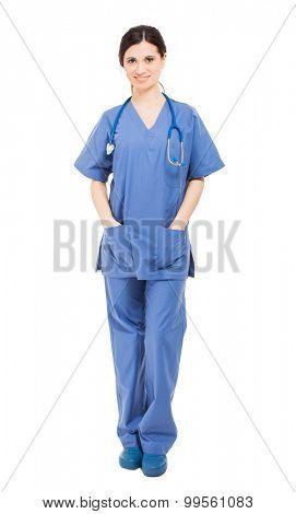 Nurse full length isolated on white