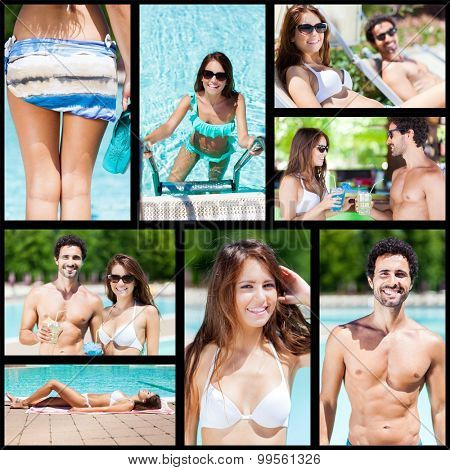 Images of a couple having fun at the pool