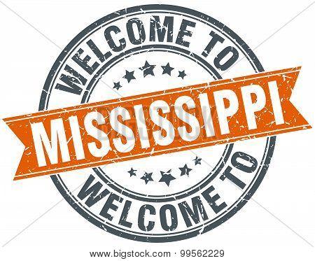Welcome To Mississippi Orange Round Ribbon Stamp