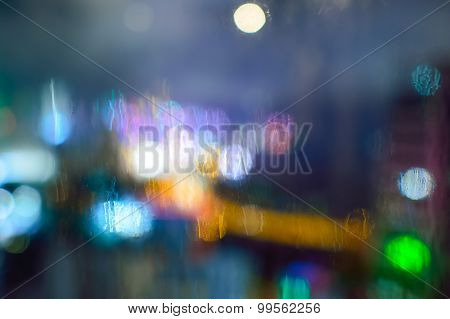 Defocused photo of Hong Kong downtown at night