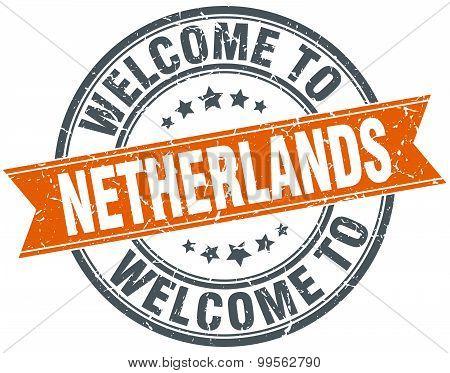 Welcome To Netherlands Orange Round Ribbon Stamp