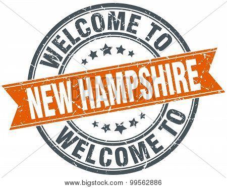 Welcome To New Hampshire Orange Round Ribbon Stamp
