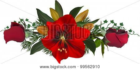 illustration with red roses and lily flowers on white background