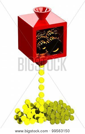 Machine Creating Gold Coins Isolated On White Background