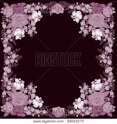 illustration with lilac flowers frame isolated on dark background