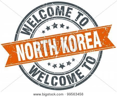 Welcome To North Korea Orange Round Ribbon Stamp