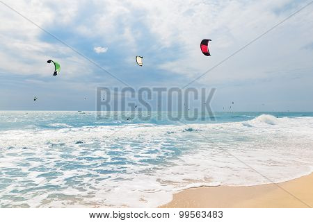 Kite Surfing In Waves