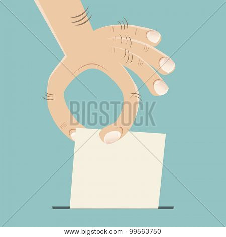 funny cartoon hand with ballot paper