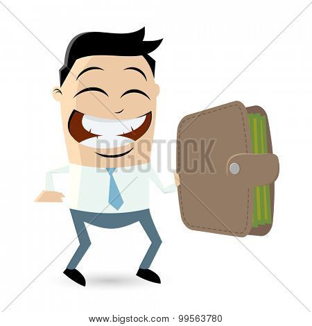 funny businessman holding a wallet